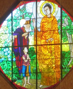 Window over altar in Lower Hamlet Meditation Hall, Plum Village, France.